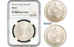 AB702, Iran, Reza Shah, 5 Rials SH1311(1932) Silver, NGC MS62
