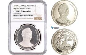 "AB710, Jordan, Hussein, Dinar AH1400 (1980) Silver ""Hijrah Anniversary"" NGC PF66UC"