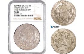 AB714, Netherlands, Kampen, Lion Daalder 1647, Silver, NGC MS61