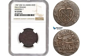 AB716, Netherlands East Indies (VEIC) Pulu Penang, 1 Cent 1787, Inverted 7, NGC VF25BN, Pop 1/0, Rare!