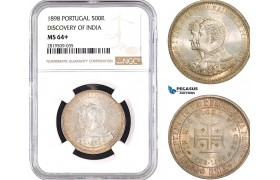 """AB731, Portugal, Carlos I, 500 Reis 1898, Lisbon, Silver, """"Discovery of India"""" NGC MS64+"""