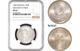 """AB732, Portugal, Carlos I, 500 Reis 1898, Lisbon, Silver, """"Discovery of India"""" NGC MS65"""