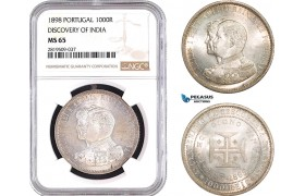 """AB733, Portugal, Carlos I, 1000 Reis 1898, Lisbon, Silver, """"Discovery of India"""" NGC MS65"""