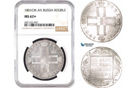 AB744, Russia, Paul I, Rouble 1801 СМ-АИ, St. Petersburg, Silver,  NGC MS62+