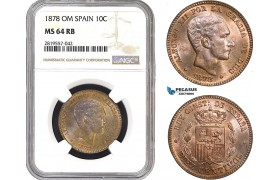AB750-R, Spain, Alfonso XII, 10 Centimos 1878 OM, Barcelona, NGC MS64RB