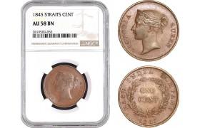 AB752, Straits Settlements, Victoria, 1 Cent 1845, NGC AU58BN