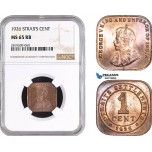 AB754, Straits Settlements, George V, 1 Cent 1926, NGC MS65RB, Pop 3/0