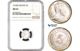 AB755, Straits Settlements, Edward VII, 5 Cents 1910-B, Bombay, Silver, NGC MS65