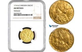 AB759, Sweden, Karl XII, Ducat (Dukat) 1714 LC, Stockholm, Gold, NGC AU Details
