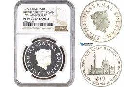 AB766, Brunei, Hassanal, 10 Dollars 1977, Silver, NGC PF69UC, Pop 3/0