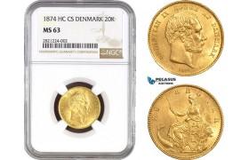 AB775-R, Denmark, Christian IX, 20 Kroner 1874, Copenhagen, Gold, NGC MS63, Rare! Pop 1/0