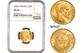AB796, France, Napoleon III, 20 Francs 1856-A, Paris, Gold, NGC MS63