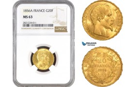 AB797, France, Napoleon III, 20 Francs 1856-A, Paris, Gold, NGC MS63