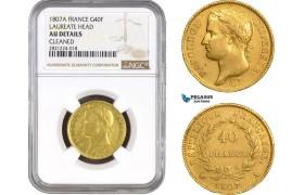 """AB803, France, Napoleon, 40 Francs 1807-A, Paris, Gold """"Laureate Head"""" NGC AU Details, Rare!"""