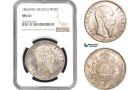 AB807, Mexico, Maximilian, Peso 1866-Mo, Mexico City, Silver, NGC MS61