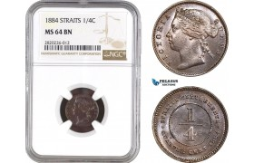 AB822, Straits Settlements, Victoria, 1/4 Cent 1884, NGC MS64BN