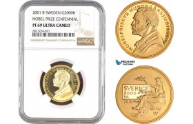 AB823, Sweden, Nobel Prize Centennial 2000 Kronor 2001, Stockholm, Gold, NGC PF69UC, Pop 1/0