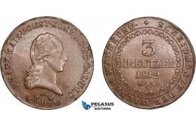 AB828, Austria, Franz I, 3 Kreuzer 1812-B, Kremnitz, aXF