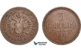 AB829, Austria, Franz Joseph, 3 Kreuzer 1851-B, Kremnitz, VF-XF