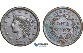 AB840, United States, Coronet Head Cent 1838, Philadelphia, XF-AU Det. (Cleaned)