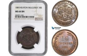 AB847, Bulgaria, Ferdinand I, 10 Stotinki 1881-Heaton, NGC MS64BN