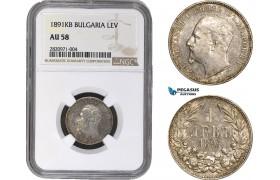 AB849, Bulgaria, Ferdinand I, 1 Lev 1891-KB, Kremnitz, Silver, NGC AU58