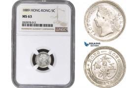 AB878, Hong Kong, Victoria, 5 Cents 1889, Silver, NGC MS63
