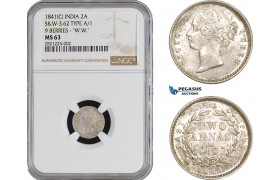 "AB880, India, Victoria, 2 Annas 1841 (C) Calcutta, Silver, S&W-3.62 TYPE A/1 9 BERRIES - """"W.W."""" NGC MS63"
