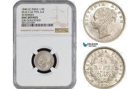AB882, India, Victoria, 1/4 Rupee 1840 (C) Calcutta, Silver, S&W-2.43 TYPE A/4 34 BERRIES, NGC UNC Det.