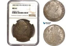 AB887, Mexico, Charles IV, 8 Reales 1801 Mo FM, Mexico City, Silver, NGC MS61, Pop 1/2, Rare!