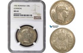 AB900, Romania, Carol II, 100 Lei 1932, London, Silver, NGC MS64