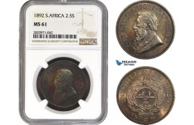 AB914, South Africa (ZAR) 2 1/2 Shillings 1892, Berlin, Silver, NGC MS61