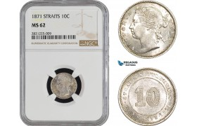 AB917, Straits Settlements, Victoria, 10 Cents 1871, Silver, NGC MS62