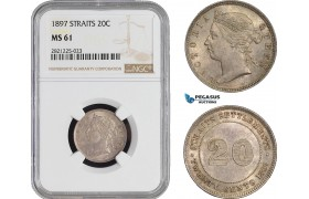 AB921, Straits Settlements, Victoria, 20 Cents 1897, Silver, NGC MS61, Pop 1/1, Rare!