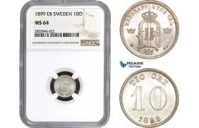 AB924, Sweden, Oscar II, 10 Öre 1899, Stockholm, Silver, NGC MS64