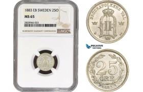 AB925, Sweden, Oscar II, 25 Öre 1883, Stockholm, Silver, NGC MS65