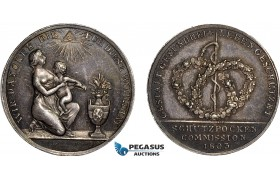 AB936, Germany, Silver Masonic Medal 1803 (Ø26.5, 5.8g) by Guillemard, Bohemia Commission