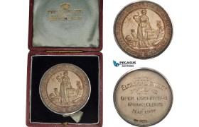 AB937, Great Britain, Silver Medal 1906 (Ø44.5, 40.25g) by Vaughton, Owl, Civil Service Collegem Original Box!