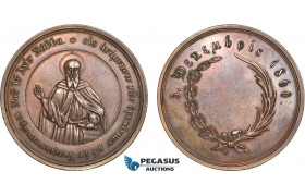 AB938, Greece & Turkey, Bronze Medal 1860 (Ø50mm, 43g) Constantinople, Saint Saba, Founder of Mar Saba Monastery in Palestine