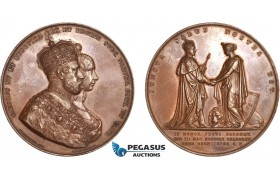 AB945, Sweden, Karl XV, Bronze Medal 1860 (Ø58mm, 89g) by Ericsson, Crowning of Louise of Netherlands
