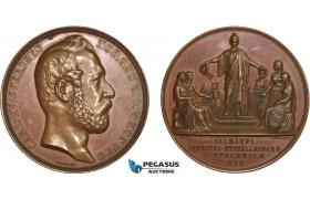AB948, Sweden, Bronze Medal 1866 (Ø58mm, 83.5g) by Ericsson, Stockholm Industry Exhibition, Train