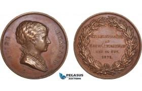 AB949, Sweden, Bronze Medal 1875 (Ø43.5mm, 33.5g) by Lindberg, Elise Hwasser, Famous Actress