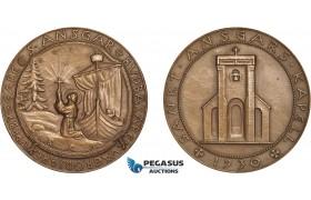 AB957, Sweden, Bronze Medal 1930 (Ø45mm, 38g) St Agatha's Chapel, Viking Ship