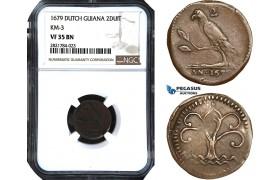 AB965, Dutch Guiana, Suriname, 2 Duit 1679, KM#3, NGC VF35BN, Extremely Rare! Pop 2/0