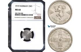 AB970, Norway, Haakon VII, 25 Øre 1919, Kongsberg, Silver, NGC MS64