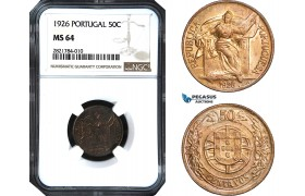 AB972, Portugal, 50 Centavos 1926, NGC MS64