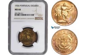 AB973, Portugal, 1 Escudo 1926, NGC MS66, Pop 1/0, Very Rare!