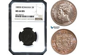 AB974, Romania, Carol I, 5 Bani 1885-B, Bucharest, NGC MS64BN