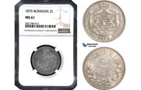 AB976, Romania, Carol I, 2 Lei 1875, Brussels, Silver, NGC MS61