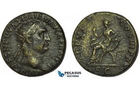 AB987, Roman Empire, Trajan (AD 98-117) Æ Dupondius (11.66g) Rome, AD 101-102., Abundantia